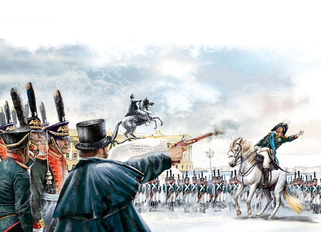 Художник пытается изобразить убийство Петром Каховским генерала Милорадовича, будто бы прибывшего уговаривать восставших декабристов
